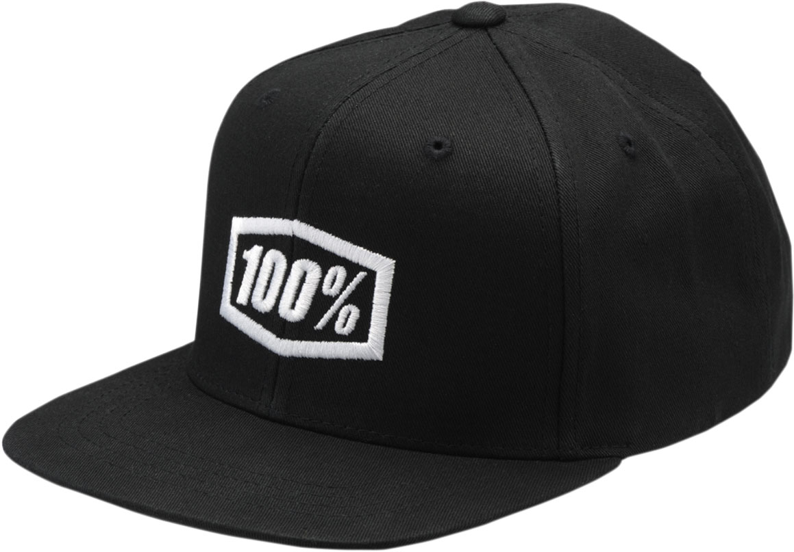 100% Youth ESSENTIAL Flat Bill SnapBack Hat (Black/White)
