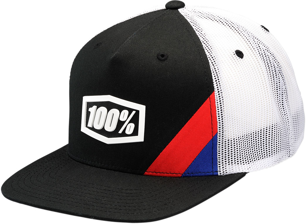 100% CORNERSTONE Flat Bill SnapBack Trucker Hat (Black/White)