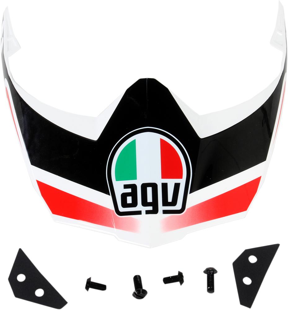AGV Replacement Peak w/Screws for AX-8 Dual Sport Evo Helmet (White/Gunmetal/Red)