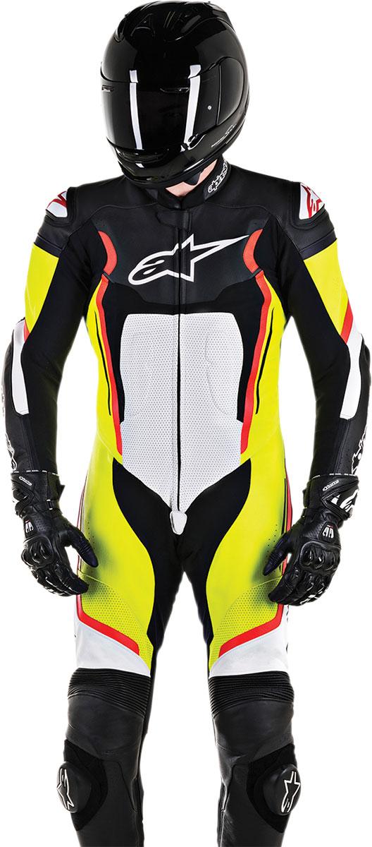 Alpinestars MOTEGI V2 1-Piece Leather Suit (Black White Flo Yellow Flo Red)