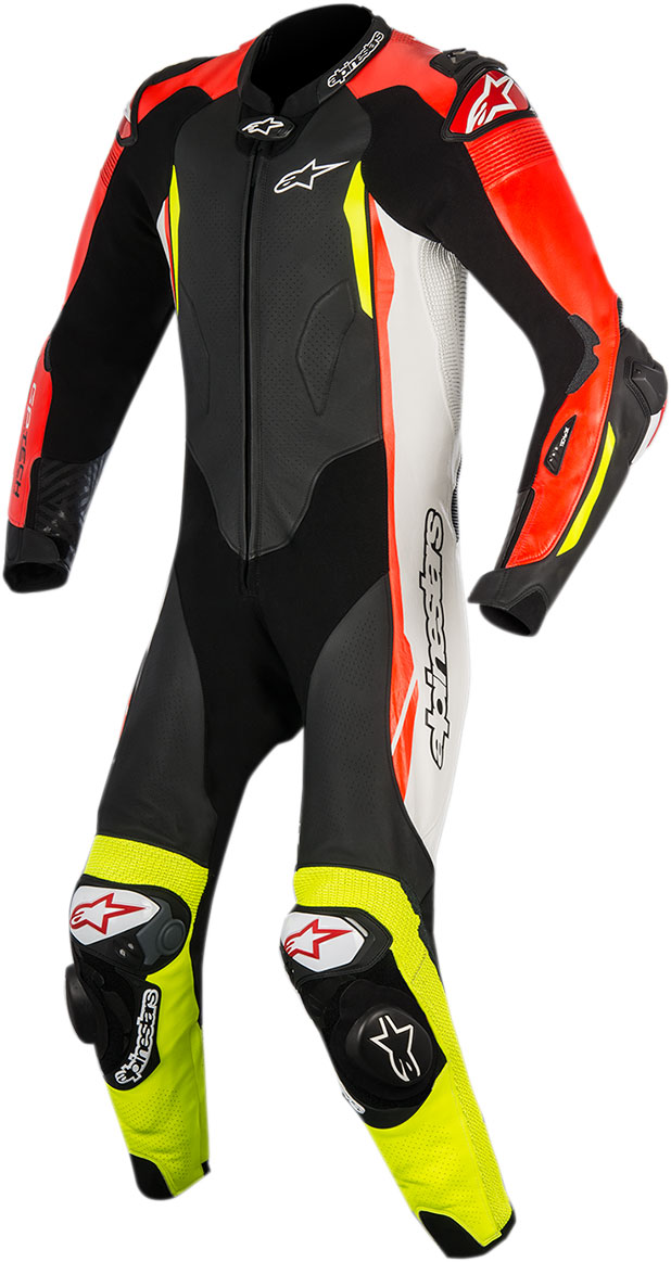Alpinestars GP TECH v2 Leather Suit Tech-Air Compatible (Black/White/Fluo Red/Fluo Yellow)