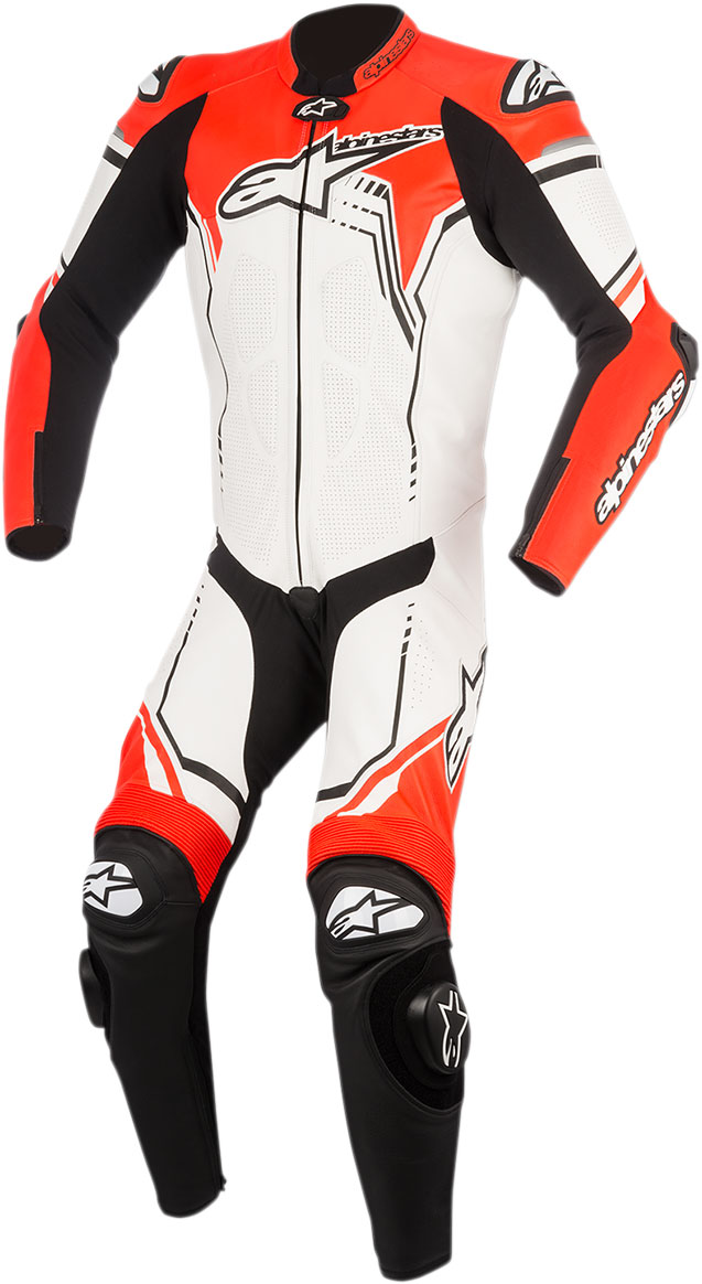 Alpinestars GP PLUS 1-Piece Leather Suit (White/Black/Flo Red)
