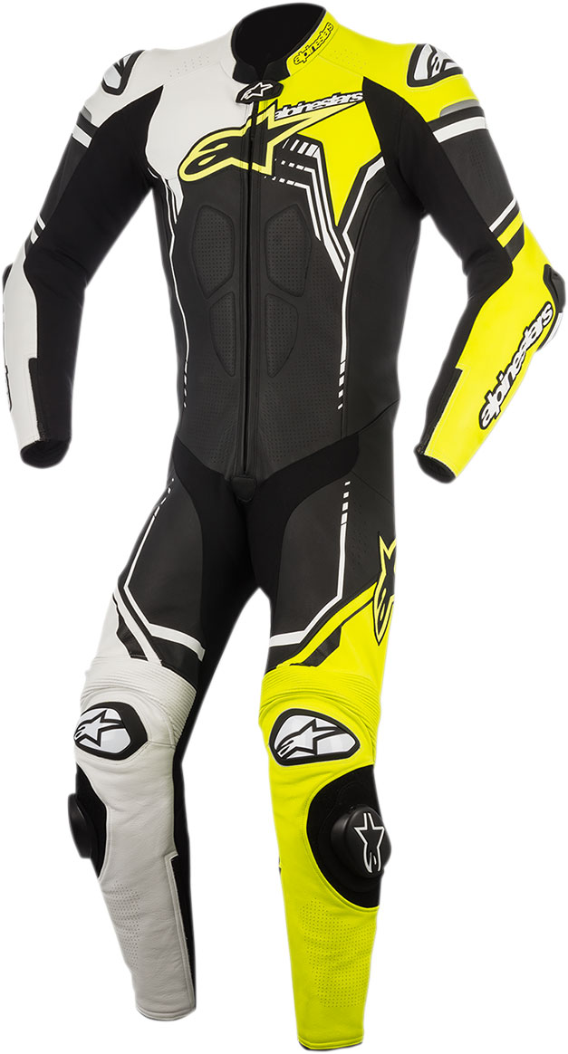 Alpinestars GP PLUS 1-Piece Leather Suit (Black/White/Flo Yellow)