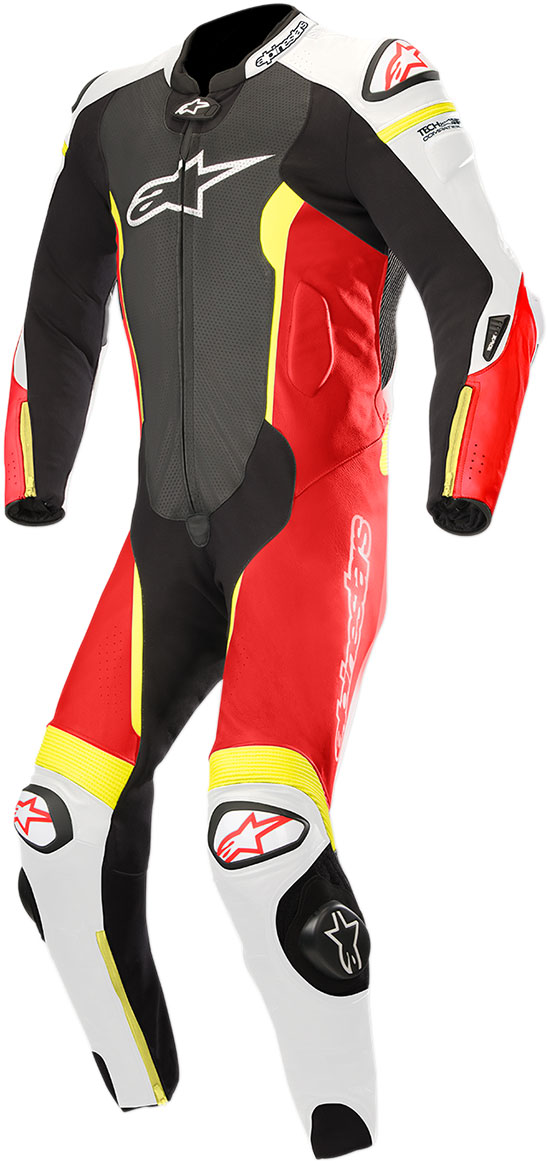 Alpinestars MISSILE Leather Suit Tech-Air Compatible (Black/White/Flo Red/Flo Yellow)