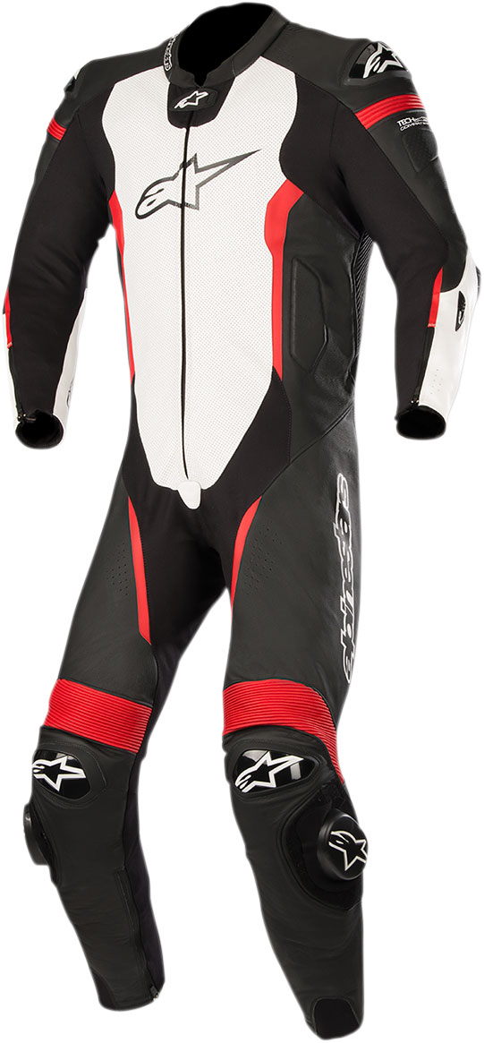 Alpinestars MISSILE Leather Suit Tech-Air Compatible (Black/White/Fluo Red)