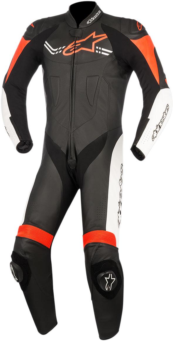 Alpinestars CHALLENGER v2 1-Piece Leather Suit (Black/White/Fluo Red)
