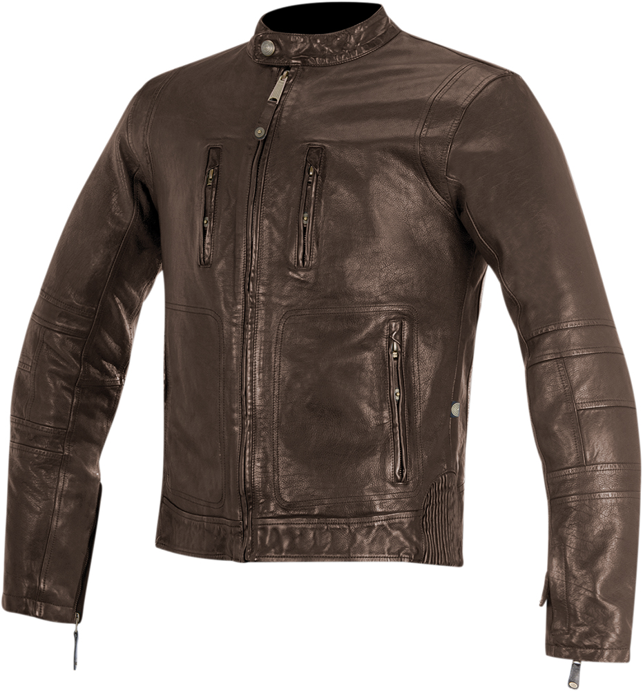 Alpinestars OSCAR BRASS Vintage-Look Leather Motorcycle Jacket (Brown)