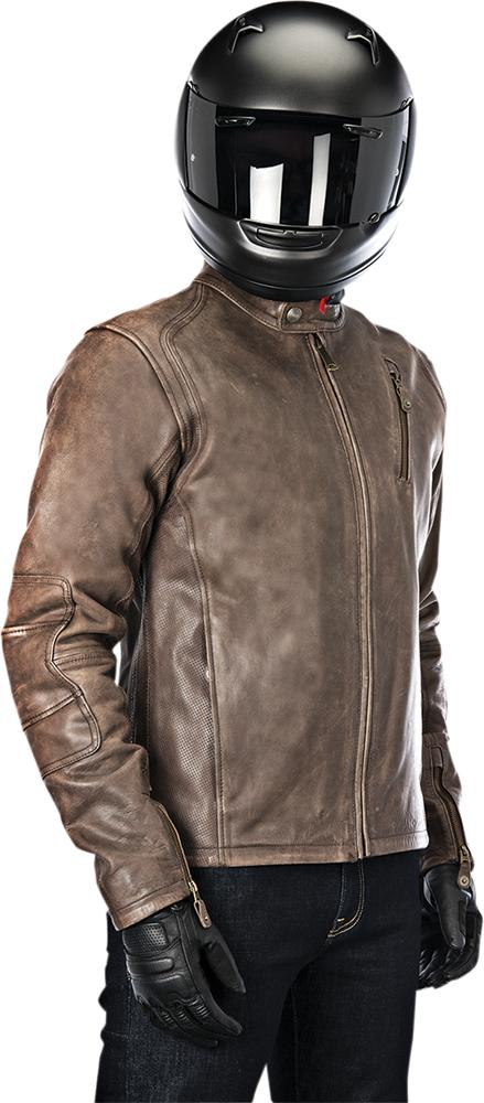 Alpinestars OSCAR MONTY Vintage-Look Leather Motorcycle Jacket (Brown)