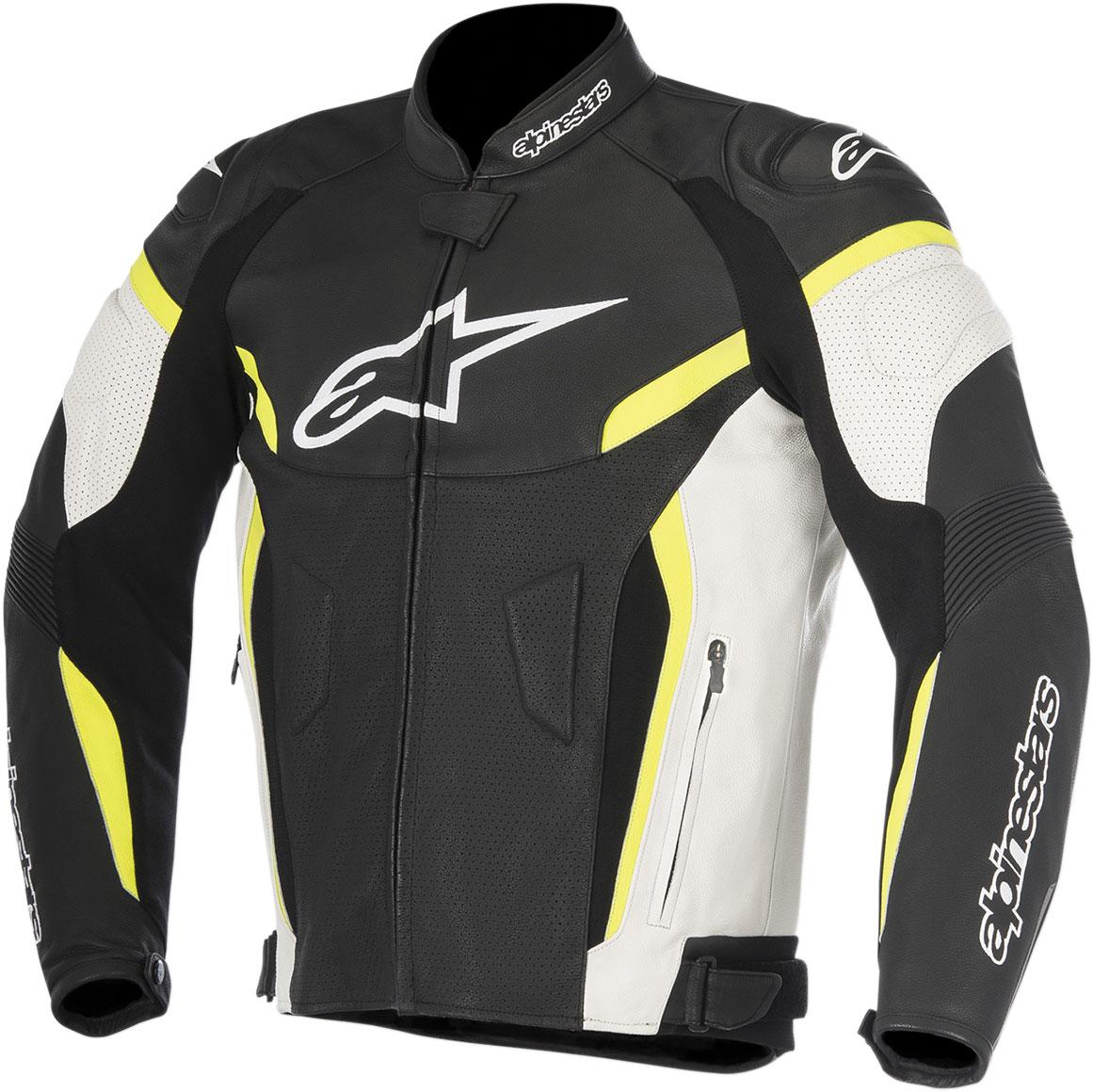 Alpinestars GP PLUS R V2 Airflow Perforated Leather Jacket (Black/White/Flo Yellow)
