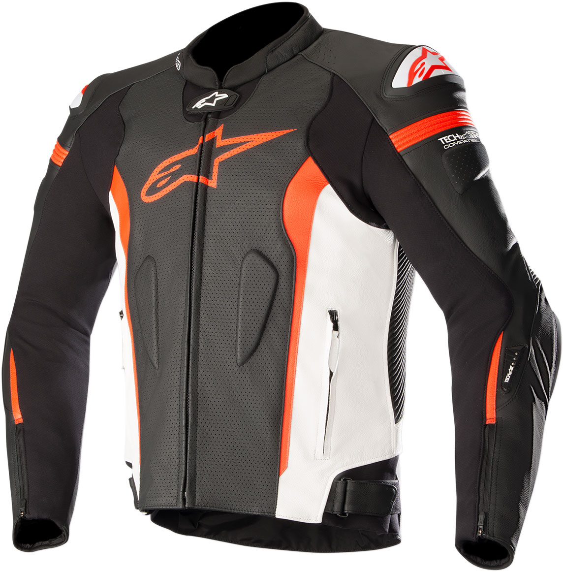 Alpinestars MISSILE Leather Jacket Tech-Air Compatible (Black/White/Fluo Red)