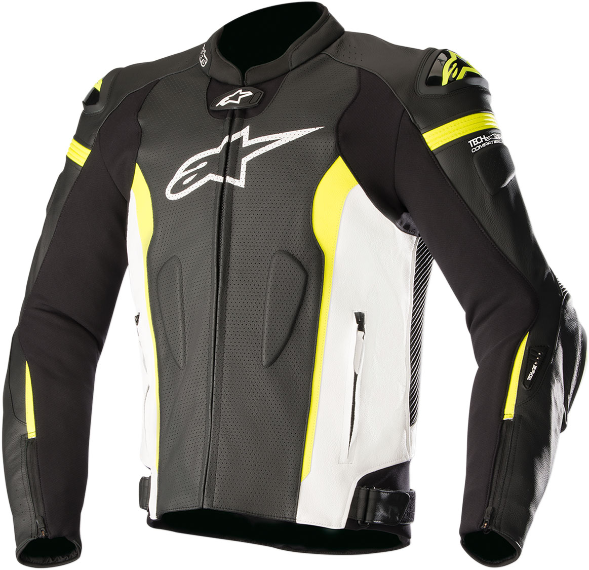 Alpinestars MISSILE Leather Jacket Tech-Air Compatible (Black/White/Flo Yellow)