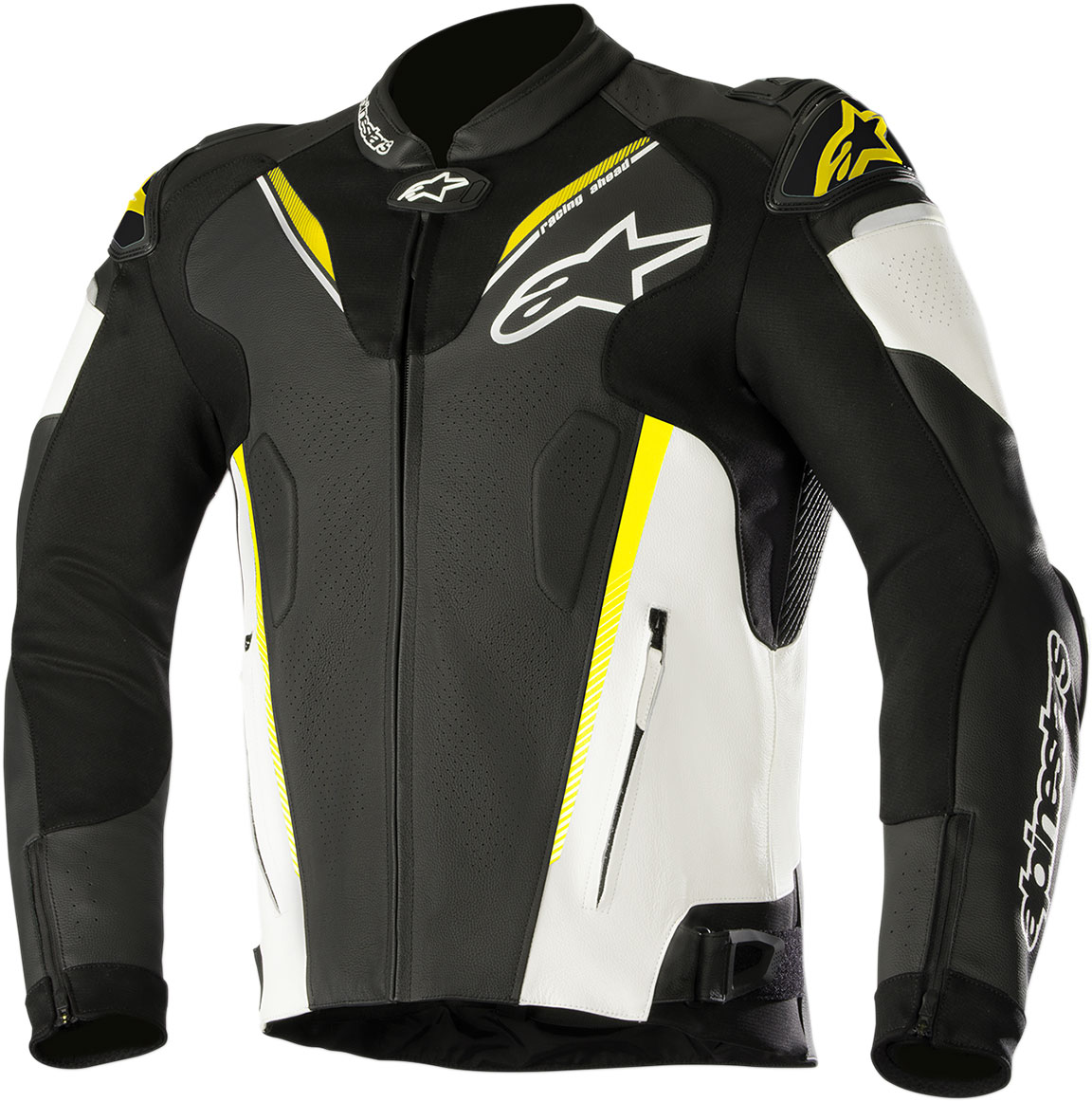 Alpinestars ATEM v3 Leather Jacket w/Aero Hump (Black/White/Flo Yellow)