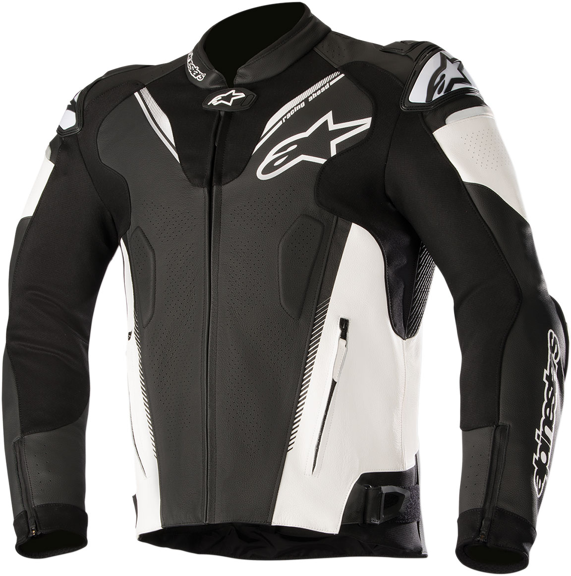Alpinestars ATEM v3 Leather Jacket w/Aero Hump (Black/White)