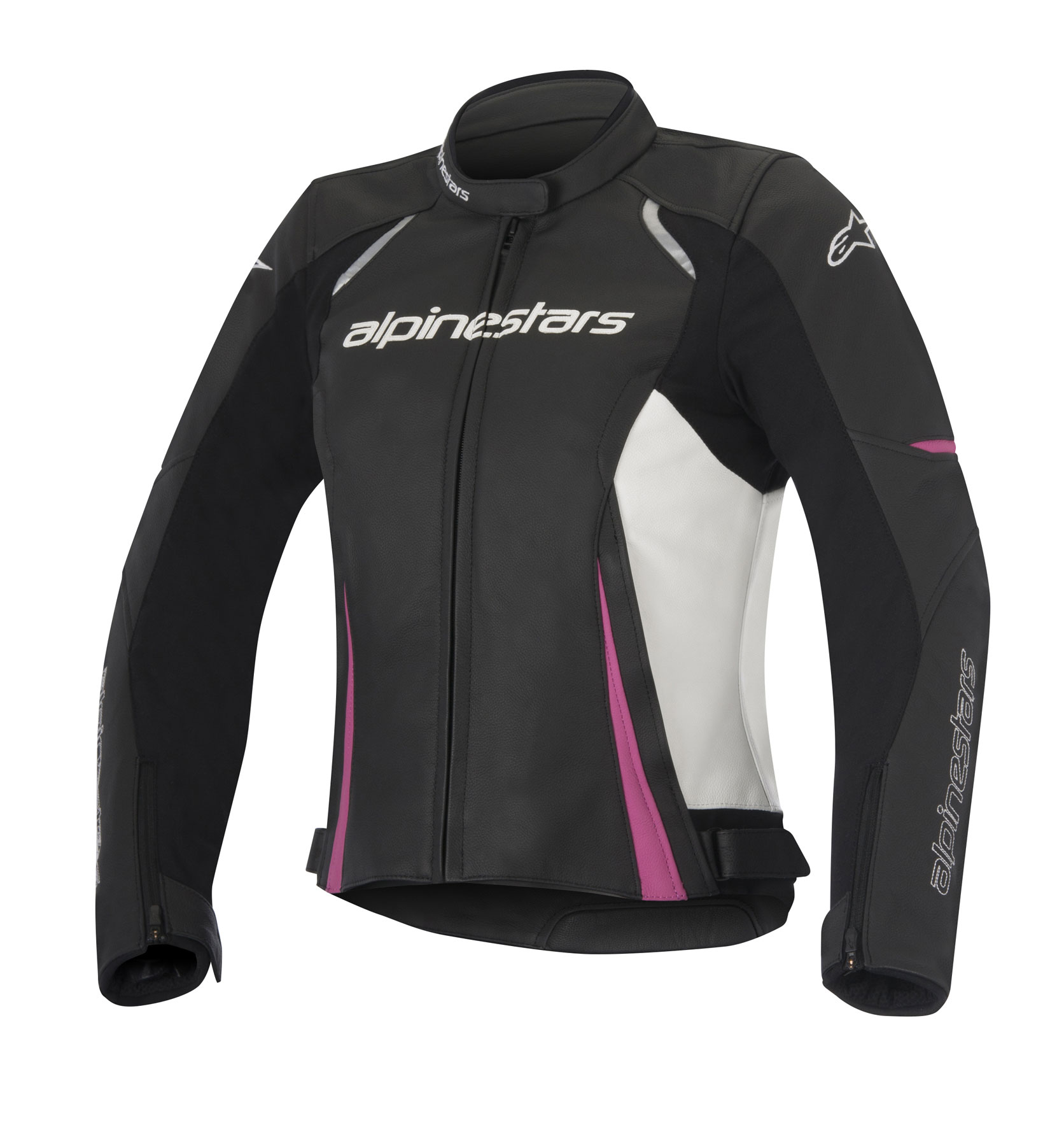 Alpinestars Stella DEVON Leather Jacket (Black/White/Pink)