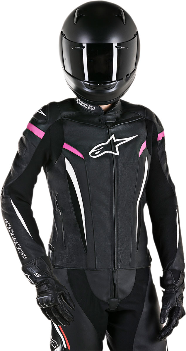 Alpinestars Stella GP PLUS R V2 Leather Jacket (Black/White/Pink)