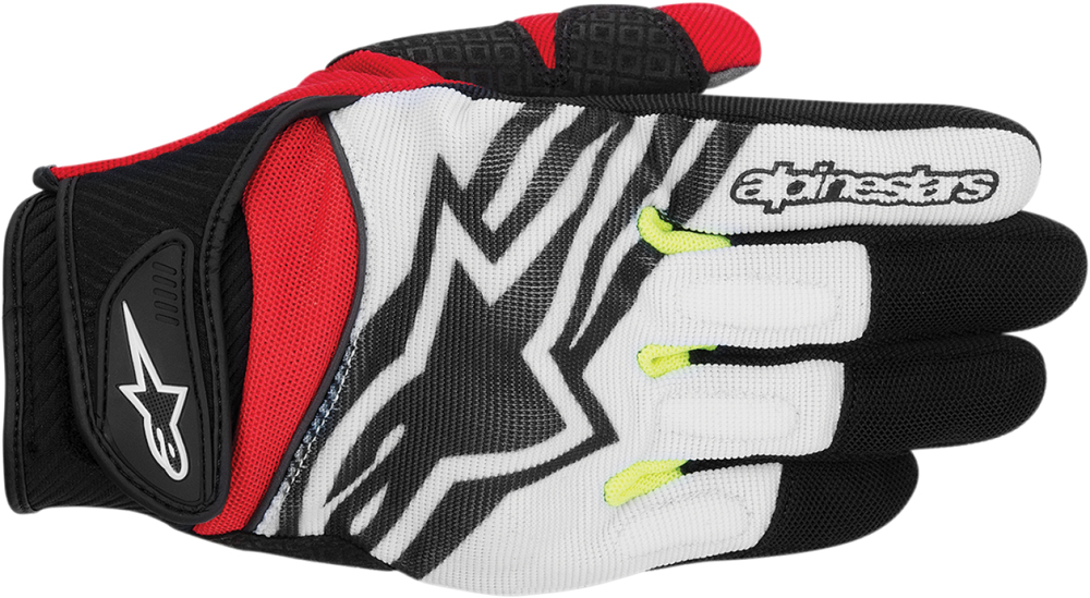 Alpinestars Spartan Textile Short Cuff Motorcycle Gloves (Black/Red/White/Yellow)