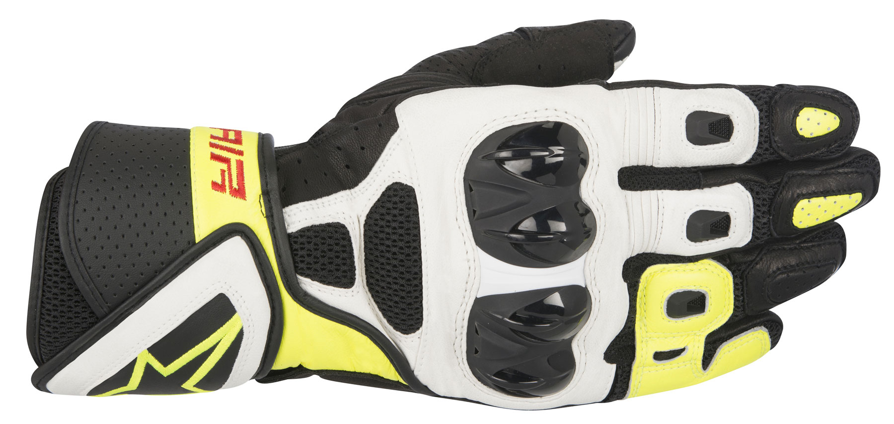 Alpinestars SP AIR Leather/Mesh Gloves (Black/White/Yellow)
