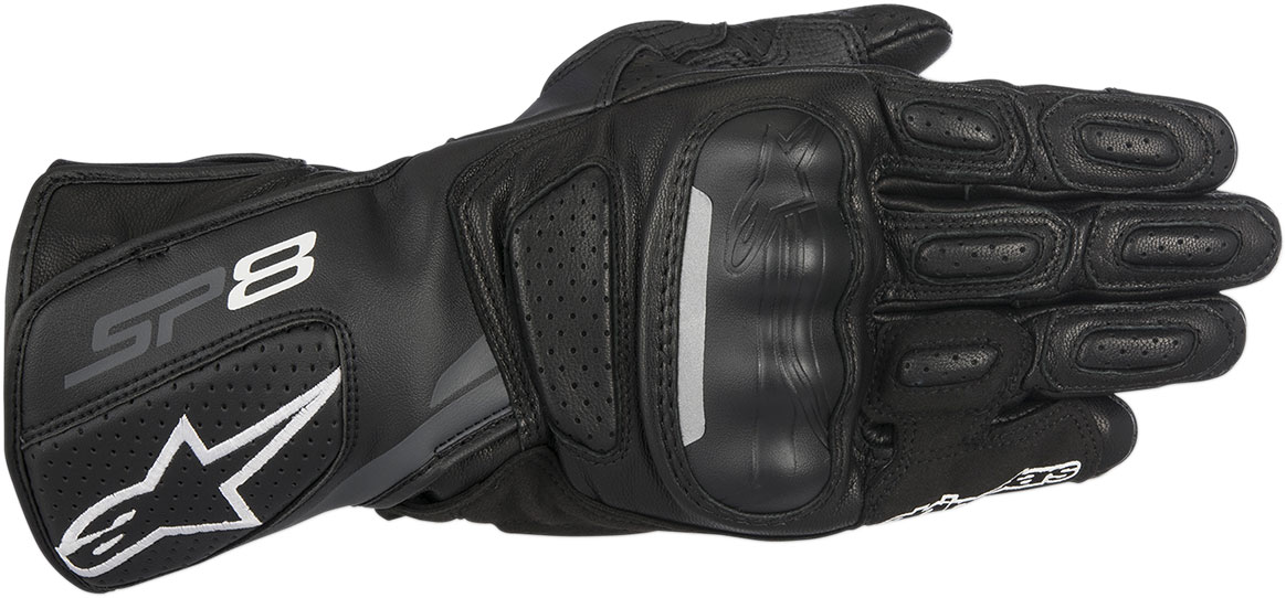 Alpinestars SP-8 V2 Touchscreen Leather Motorcycle Gloves (Black/Grey)