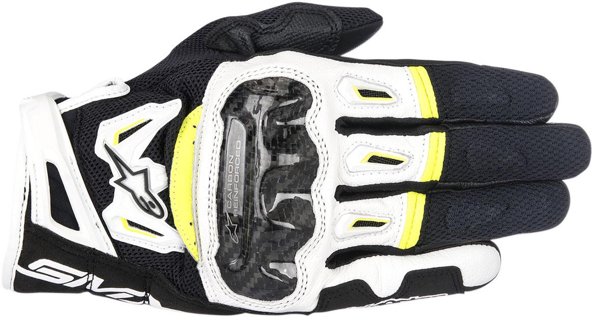 Alpinestars SMX-2 Air Carbon V2 Touchscreen Leather Motorcycle Gloves (Black/White/Flo Yellow)