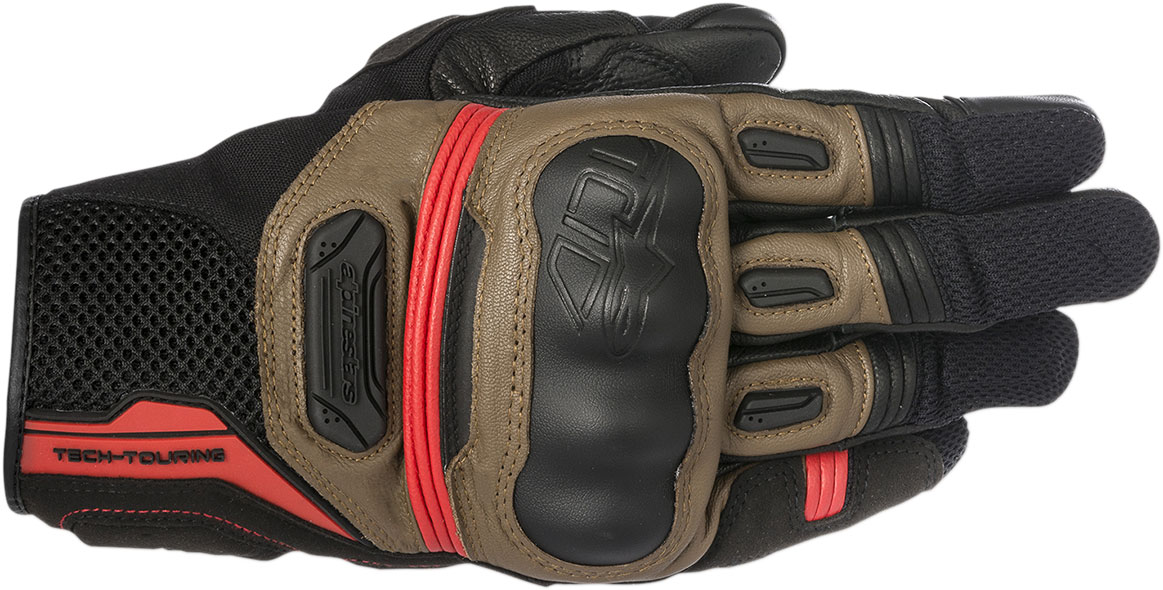 Alpinestars HIGHLANDS Touchscreen Mesh/Leather Motorcycle Gloves (Black/Brown/Red)
