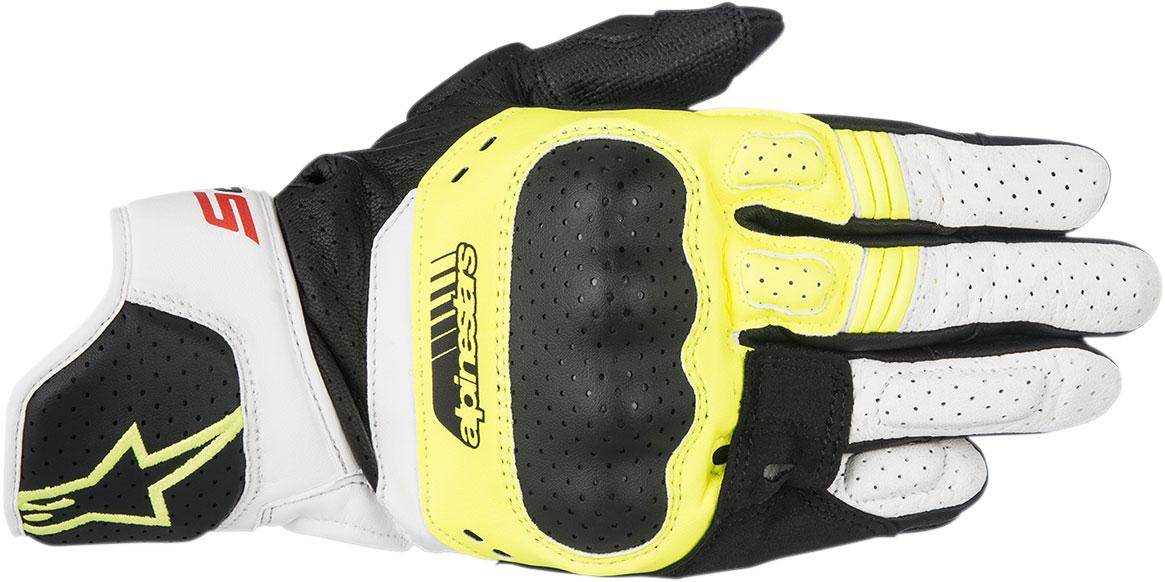 Alpinestars SP-5 Leather Gloves (Black/Flo Yellow/White)