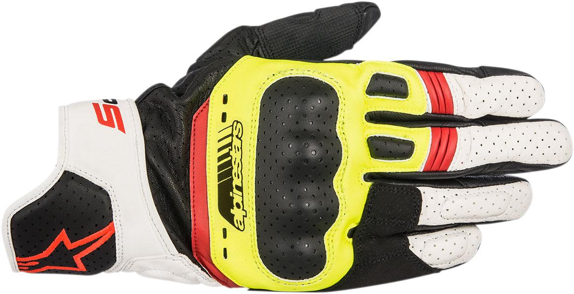 Alpinestars SP-5 Leather Gloves (Black/Flo Yellow/White/Flo Red)