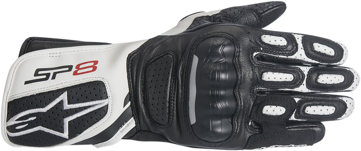 Alpinestars Stella SP-8 V2 Leather Motorcycle Gloves (Black/White)
