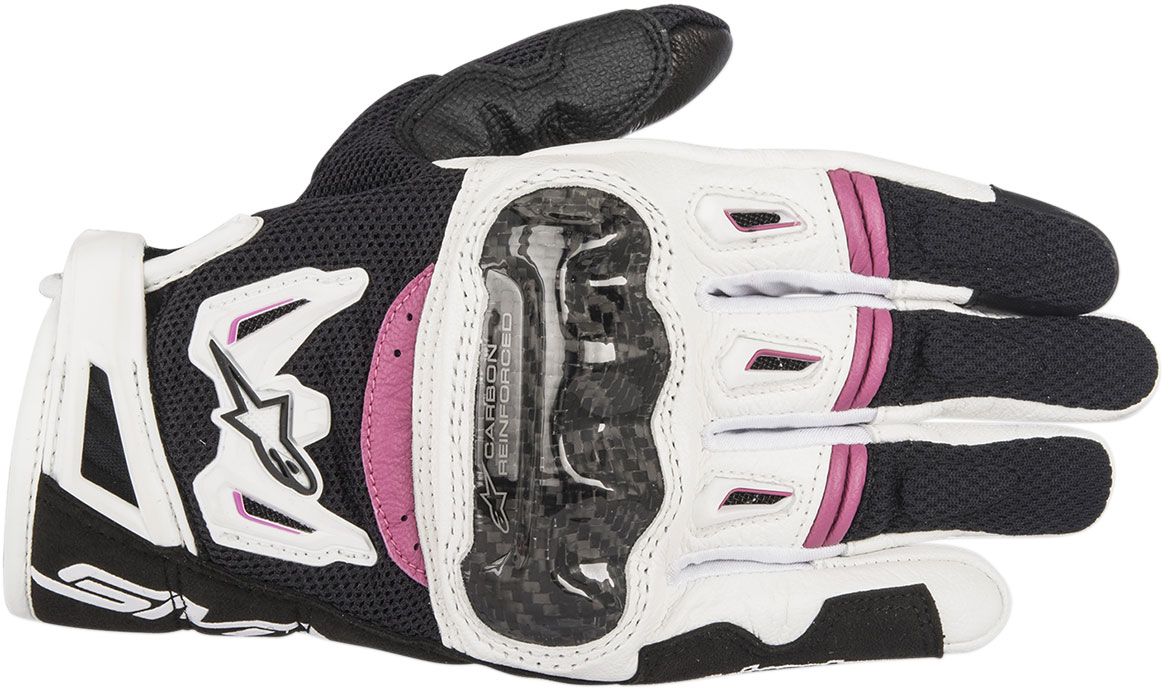 Alpinestars Stella SMX-2 Air Carbon V2 Touchscreen Leather Motorcycle Gloves (Black/White/Pink)