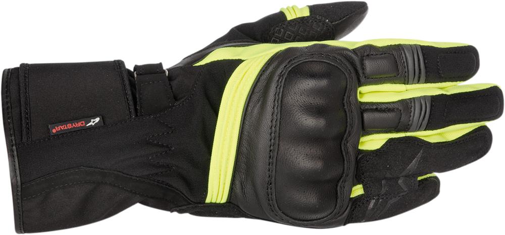 Alpinestars Valparasio Drystar Leather Long Cuff Motorcycle Touring Gloves (Black/Yellow)
