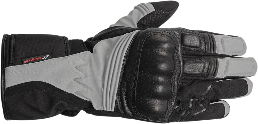 Alpinestars Valparasio Drystar Leather Long Cuff Motorcycle Touring Gloves (Black/Gray)