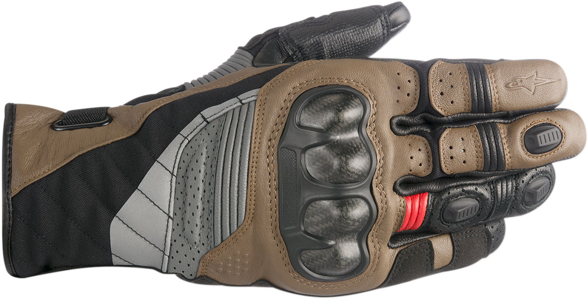 Alpinestars BELIZE Drystar Leather/Textile Gloves (Black/Brown/Red)
