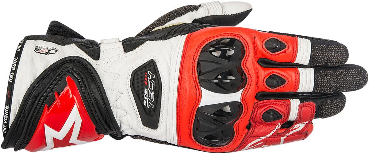 Alpinestars SUPERTECH Leather Gloves (Black/White/Red)