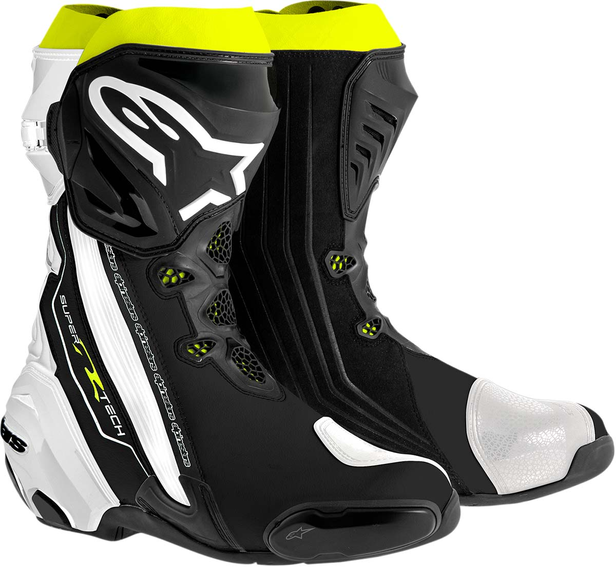 Alpinestars SUPERTECH R Track/Road Racing Motorcycle Boots (Black/White/Yellow)