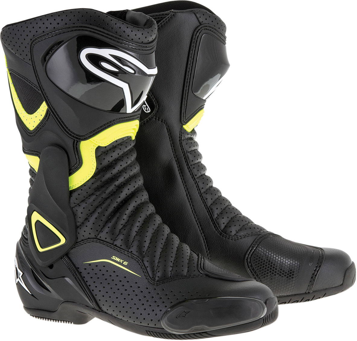Alpinestars SMX-6 V2 Vented Road/Track Motorcycle Boots (Black/Yellow)