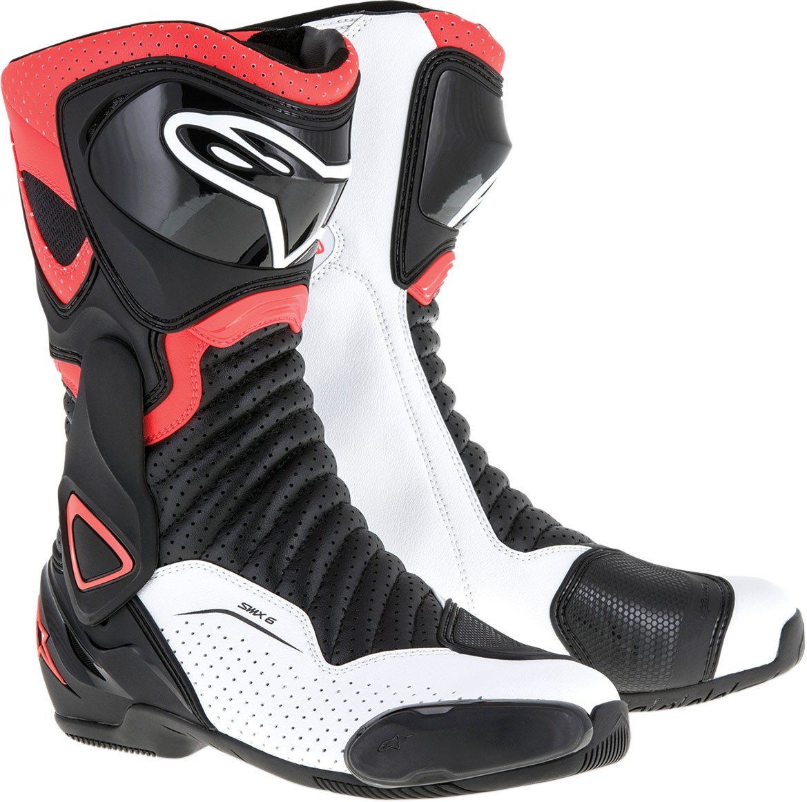 Alpinestars SMX-6 V2 Vented Road/Track Motorcycle Boots (Black Red White)