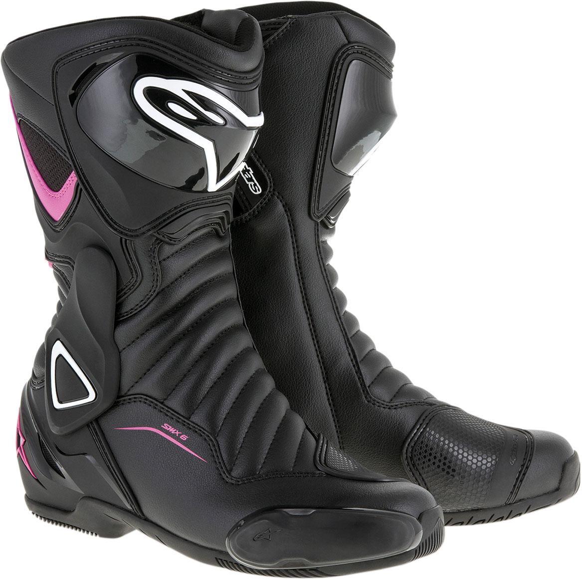 Alpinestars Stella SMX-6 V2 Vented Road/Track Motorcycle Boots (Black/Pink/White)