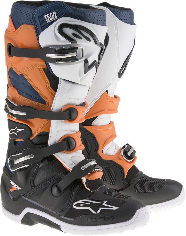 Alpinestars Motocross Offroad TECH 7 Enduro Boots (Black/Orange/Blue/White)