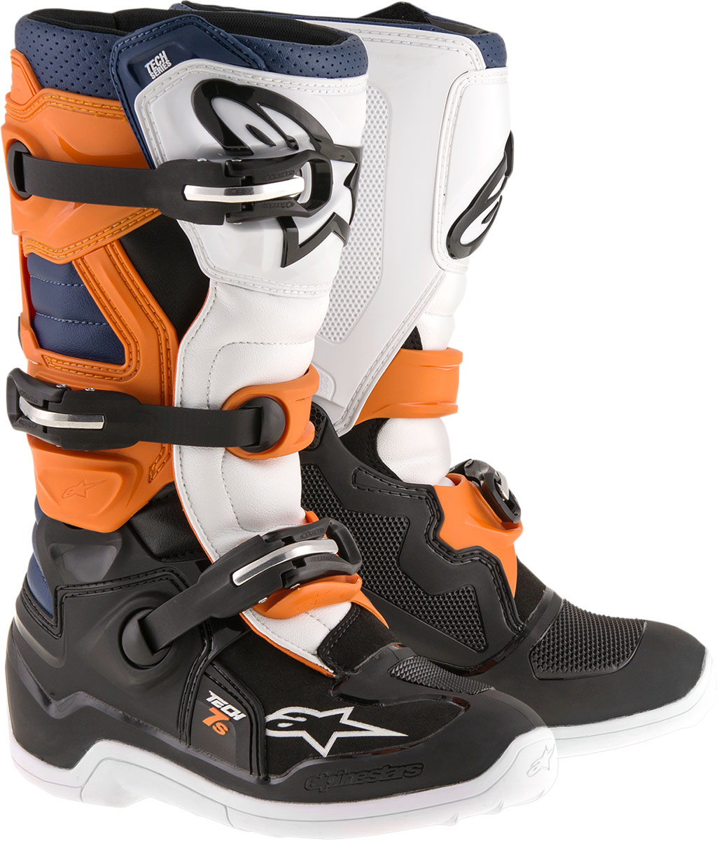 Alpinestars Motocross Offroad TECH 7S Boots (Black/Orange/Blue)