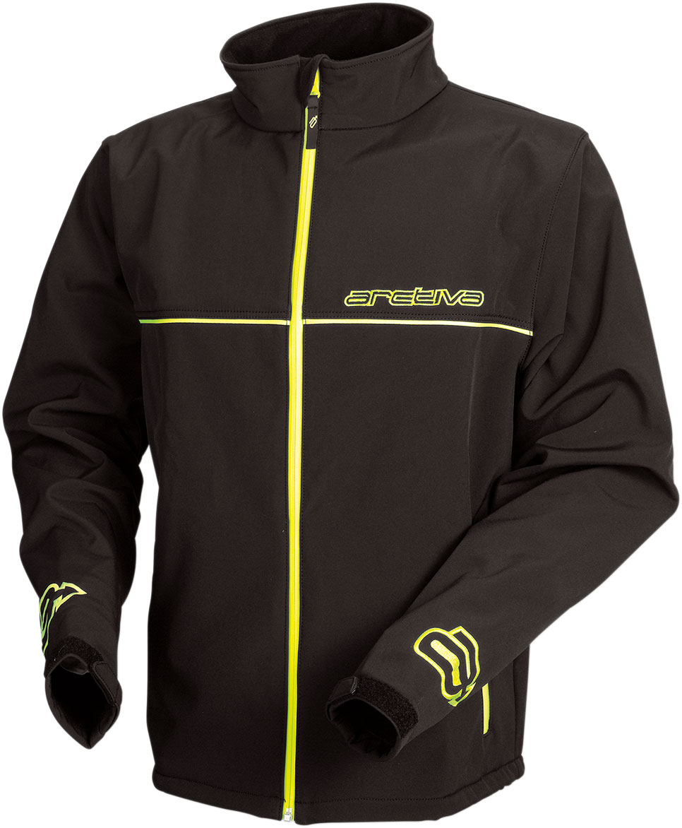 Arctiva Snow Snowmobile Wind/Water/Abrasion Resistant Soft Shell Mid-Layer Jacket (Black/Hi-Viz)