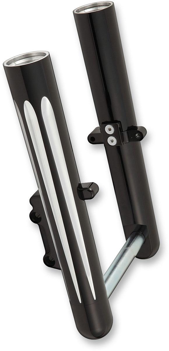 Arlen Ness - 40-510 - Hot Legs Single Disc Fork Leg Set, Deep Cut - Black