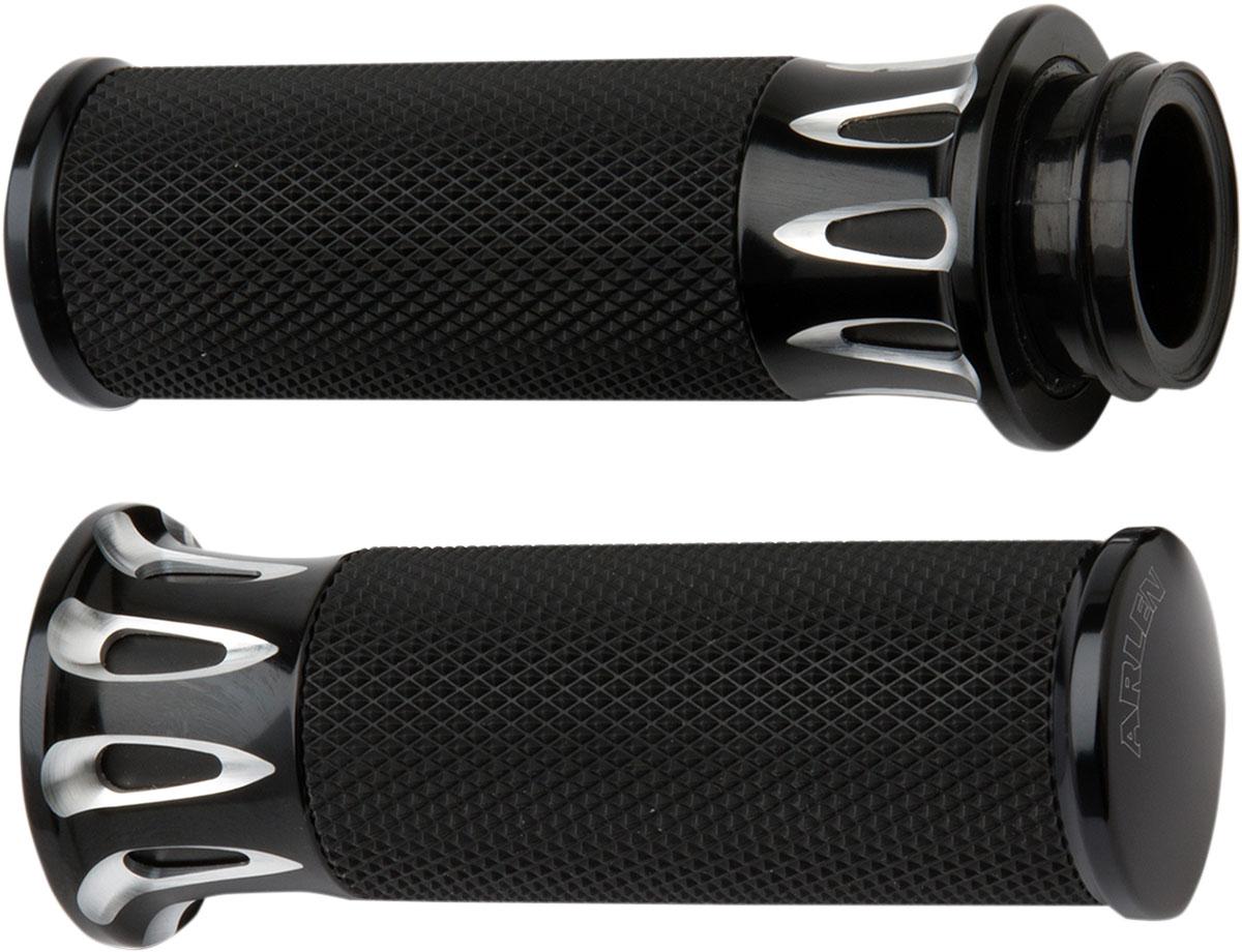 Arlen Ness - 07-317 - Fusion Series Grips, Deep Cut - Black