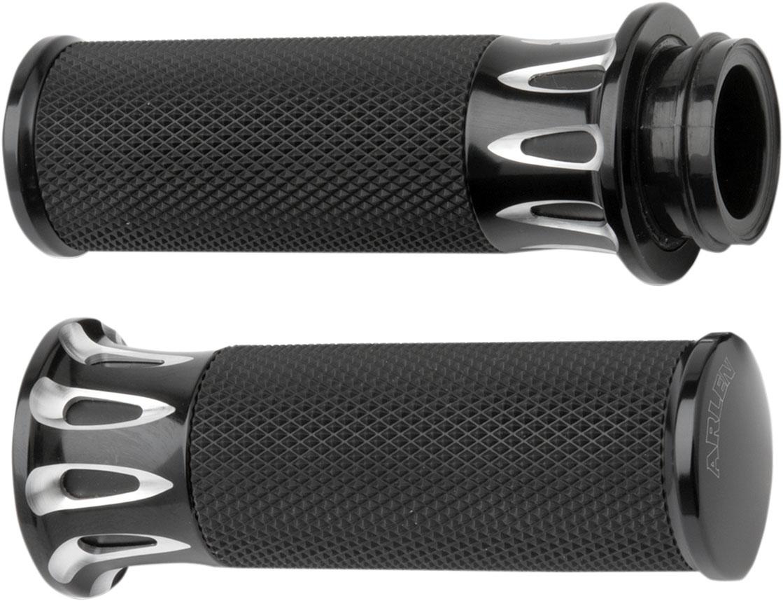 Arlen Ness - 07-319 - Fusion Series Grips, Deep Cut - Black
