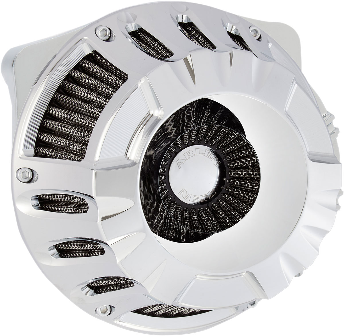 Arlen Ness - 18-928 - Inverted Series Air Cleaner Kit, Deep Cut - Chrome