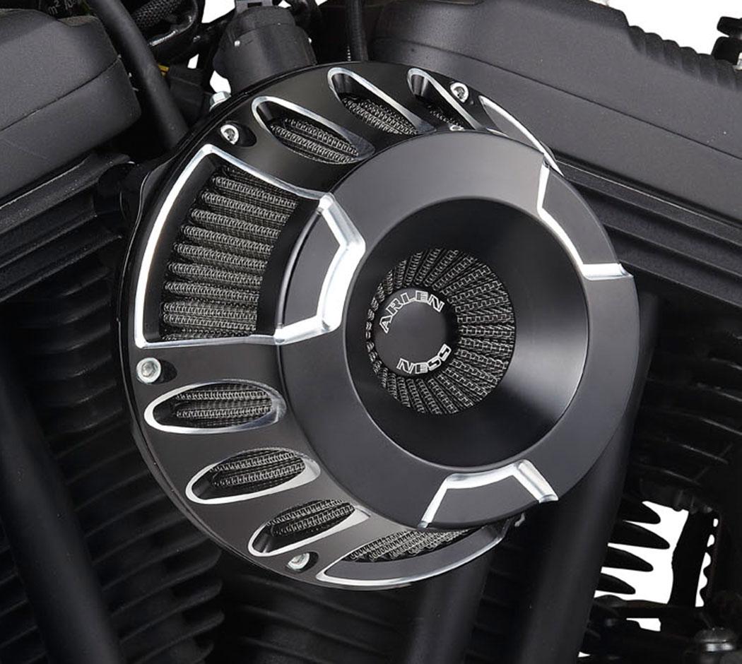 Arlen Ness - 18-931 - Inverted Series Air Cleaner Kit, Deep Cut - Black