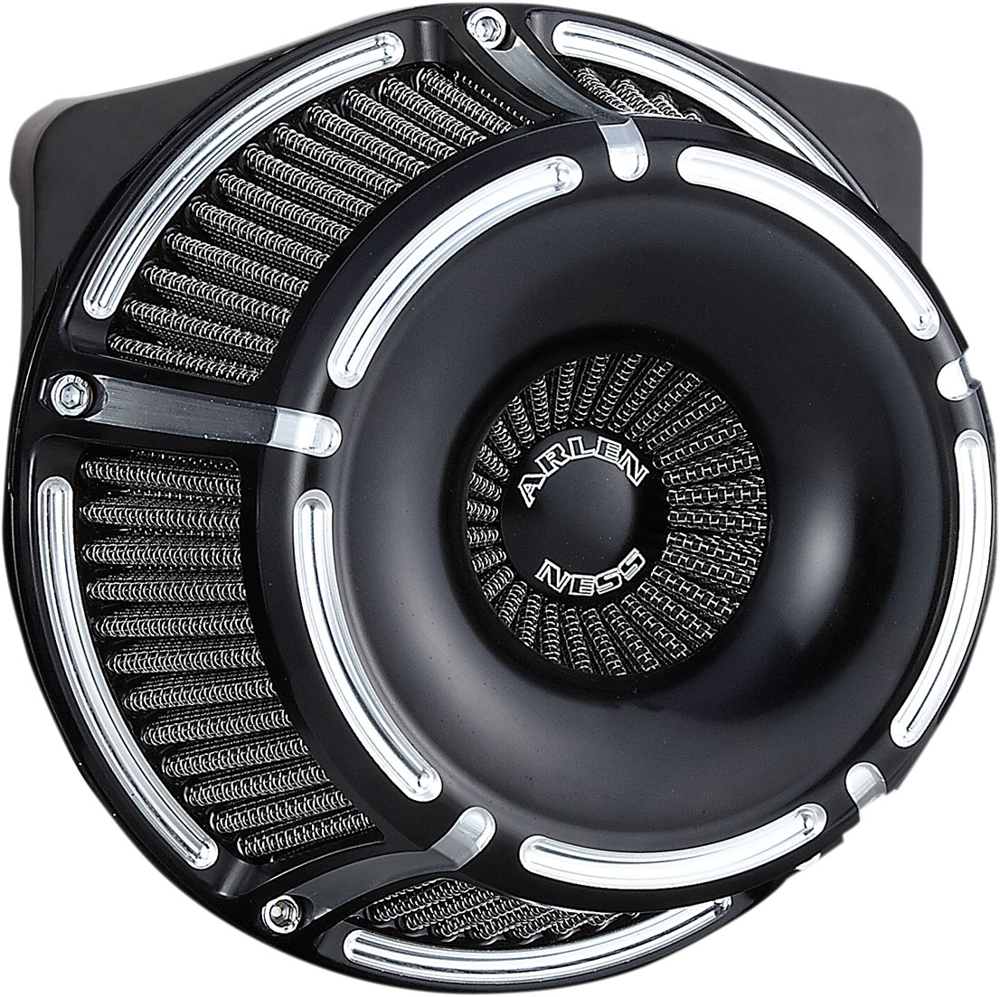 Arlen Ness - 18-915 - Inverted Series Air Cleaner Kit, Slot Track - Black