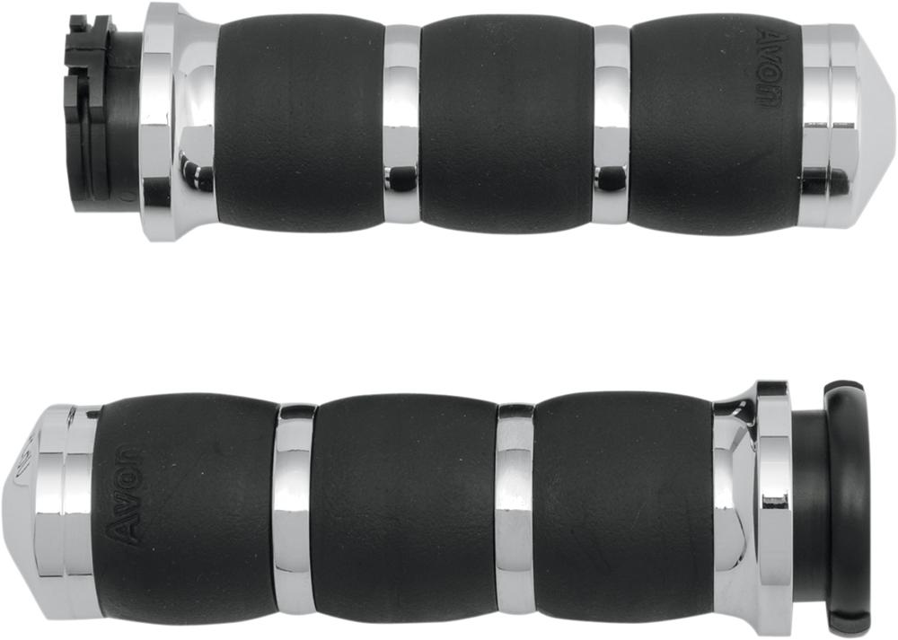 AVON Velvet Air Grips for H-D Motorcycles w/Cable Throttle (Chrome)