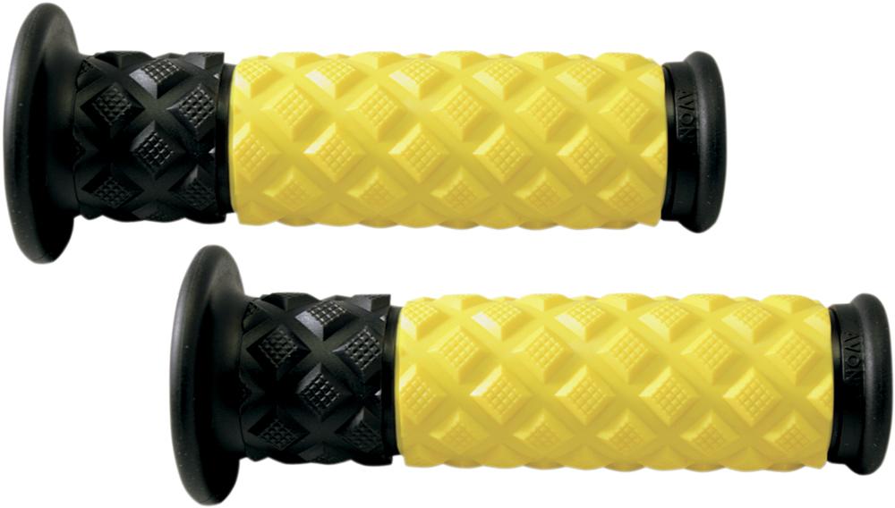 AVON V.7 Diamond Pillow ATV Grips (Yellow/Black)