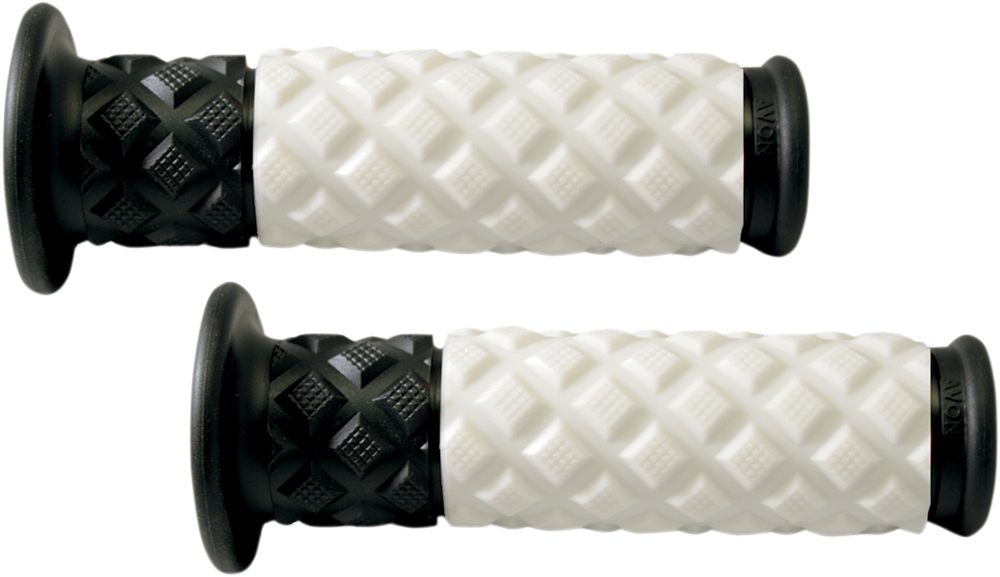 AVON V.7 Diamond Pillow ATV Grips (White/Black)