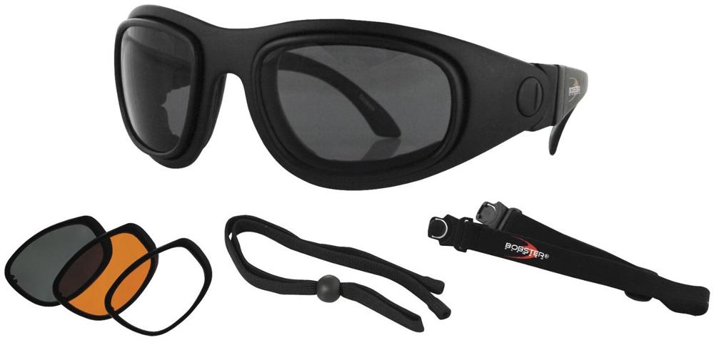 Bobster Sport & Street 2 Convertible Sunglasses (Black Frame, 3 Lenses)