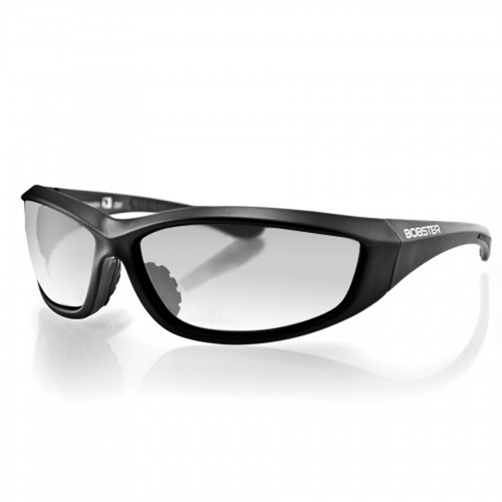 Bobster Charger Sunglasses (Black Frame, Anti-fog Clear Lens, ANSI Z87)